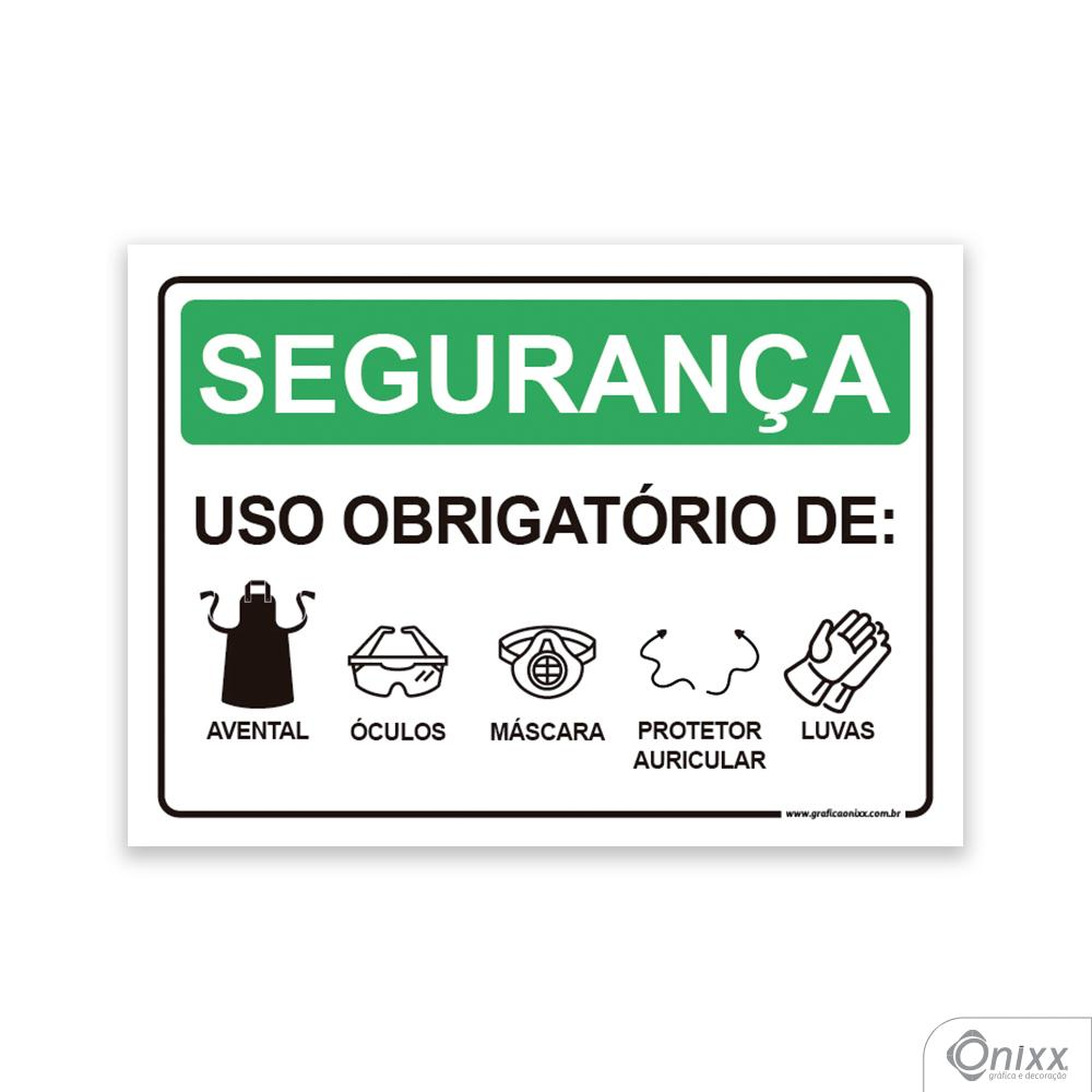Placa Segurança: Uso Obrigatório De Avental, Óculos, Máscara, Protetor Auricular, Luvas